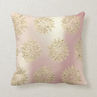 Gold Foxier Rose Gold Pink Metal Flowers Margerite Cushion