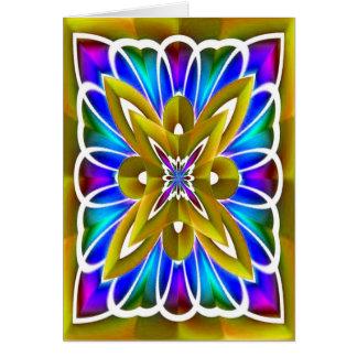 Gold Fractal Flower Blank Card