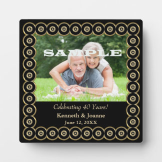Gold Frame 40th Wedding Anniversary Template Plaque