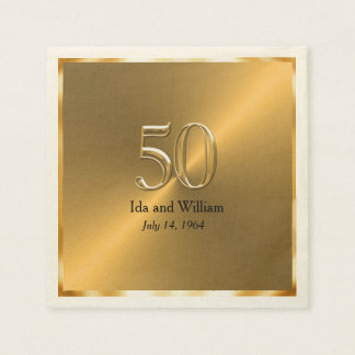 Gold Frame 50th Anniversary Disposable Napkins