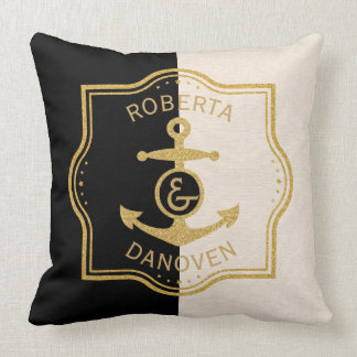 Gold Frame & Anchor On Black & Beige background Throw Pillow