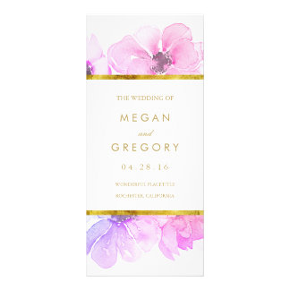 Gold Frame Blue and Purple Floral Wedding Programs Custom Rack Card