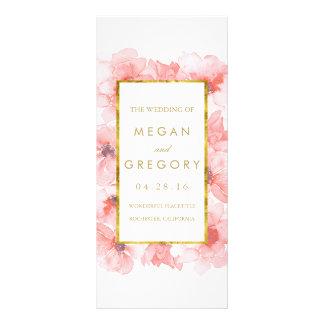 Gold Frame Blush Floral Wedding Programs Rack Card