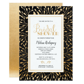 Gold Frame Bridal Shower, black chalkboard Card