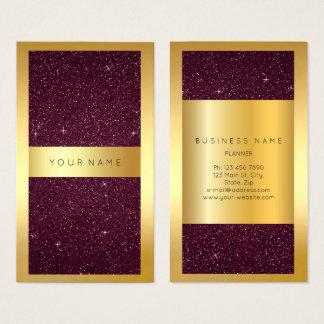 Gold Frame Burgundy Bordeaux Glitter Vertical Business Card