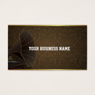 Gold Frame Music Studio Damask Business Card