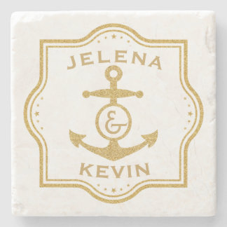 Gold Frame & Nautical Anchor Wedding Gift Stone Coaster