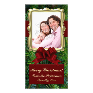 Gold Frame Pine Red Bow Vertical Christmas Photo Card