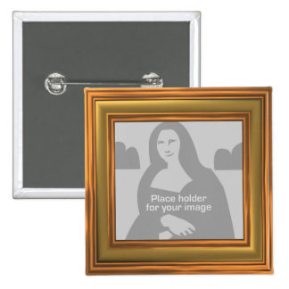 Gold Frame Template Pinback Button
