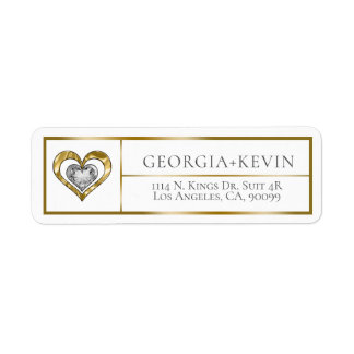 Gold Frame With Gold & Diamonds Double Heart Return Address Label