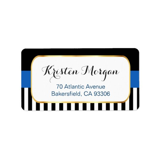 Gold Frame with Navy Blue Black White Stripes Address Label