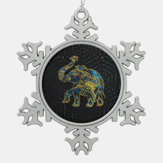 Gold Framed Elephant on Colorful Abalone decor Snowflake Pewter Christmas Ornament