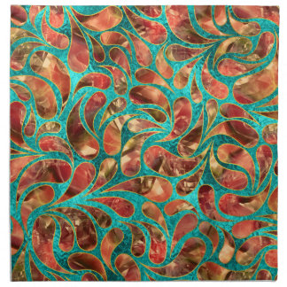 Gold Framed Red Gemstone  Paisley pattern on teal Napkin