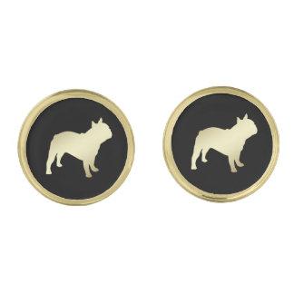 Gold French Bulldog on Black Gold Finish Cufflinks