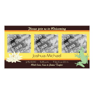 Gold Frog and Lotus Birth Announcements Picture Card