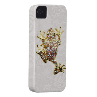 Gold Frog Jewel Photo Paisley Lace iPhone 4 Case