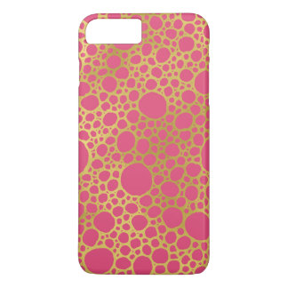 Gold Fuchsia Pink Circles Pattern iPhone 7 Case