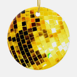 Gold Funky Disco Ball Ceramic Ornament