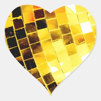 Gold Funky Disco Ball Heart Sticker