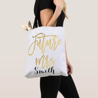 Gold Future Mrs. Personalized Wedding Engagement Tote Bag