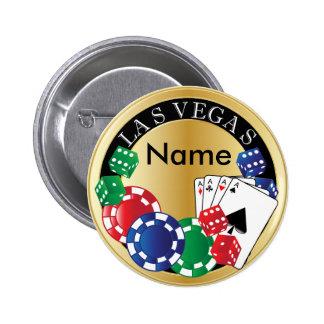 Gold Gambler Las Vegas - Dice, Cards, Poker Chips 6 Cm Round Badge