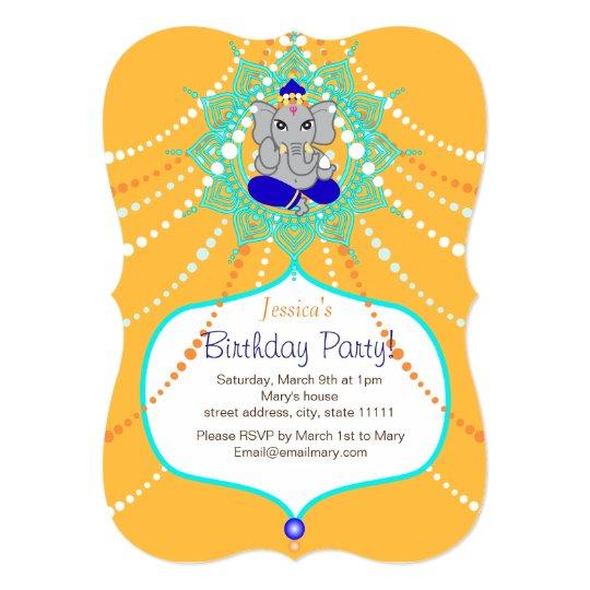"""gold ganesh birthday 5"""" x 7"""" invitation card  zazzleau"""