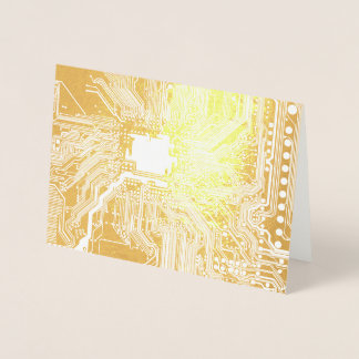 Gold Geek Motherboard Circuit Pattern Foil Card