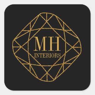 Gold Gem Stone Monogram Business Stickers