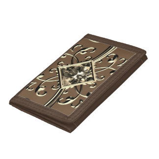 gold gem walett tri-fold wallets
