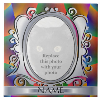 Gold Gemstone Oval Photo Frame with Name Tile