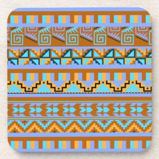 Gold Geometric Abstract Aztec Tribal Print Pattern Beverage Coaster