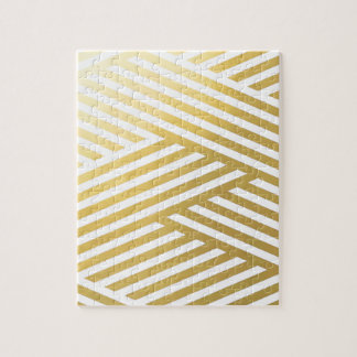 Gold Geometric Abstract Stripes Pattern Jigsaw Puzzle