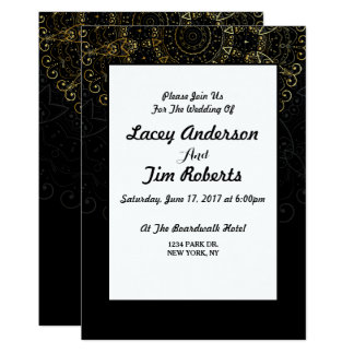 Gold Geometric Design Black Wedding Invitation