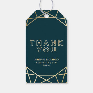 Gold Geometric Diamond Wedding Thank You Favor Gift Tags