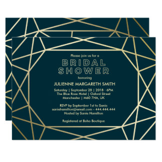 Gold Geometric Gem Sophisticated Bridal Shower Card