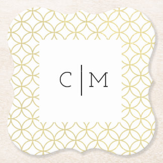 Gold Geometric Monogram 'Shippo' Wedding Coaster