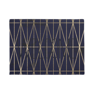 Gold geometric triangles navy blue watercolor doormat