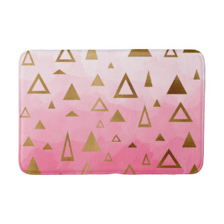 gold geometric triangles pastel pink brushstrokes bath mat