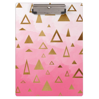 gold geometric triangles pastel pink brushstrokes clipboard