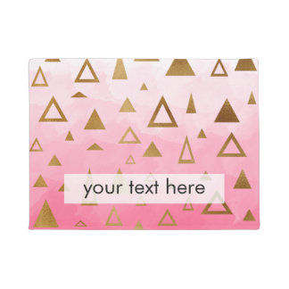 gold geometric triangles pastel pink brushstrokes doormat