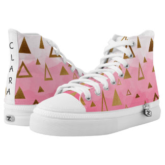 gold geometric triangles pastel pink brushstrokes high tops