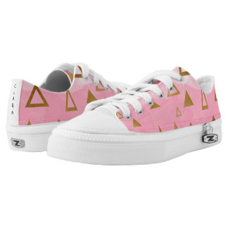 gold geometric triangles pastel pink brushstrokes low tops