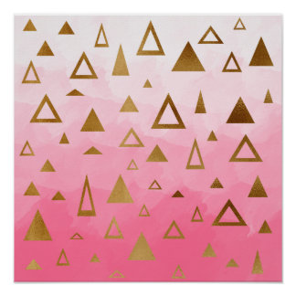 gold geometric triangles pastel pink brushstrokes poster