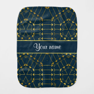 Gold Geometric Tribal Arrows Pattern Baby Burp Cloths