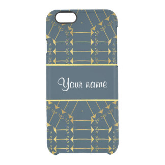 Gold Geometric Tribal Arrows Pattern Clear iPhone 6/6S Case