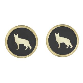 Gold German Shepherd Dog on Black Gold Finish Cufflinks