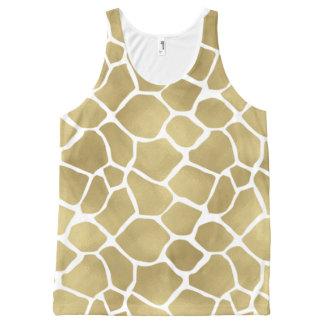 Gold Giraffe Print All-Over Print Singlet