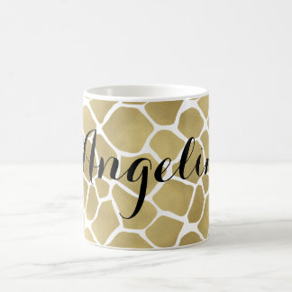Gold Giraffe Print Personalized Basic White Mug