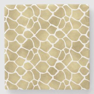 Gold Giraffe Print Stone Beverage Coaster