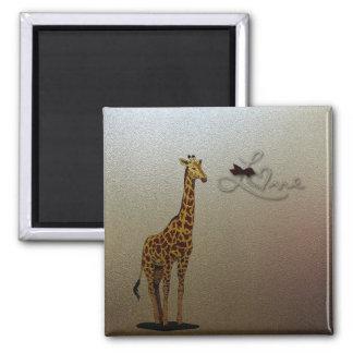 Gold Giraffe Square Magnet